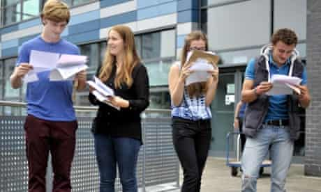 Students open their GCSE results at St Mary Redcliffe and Temple in Bristol.