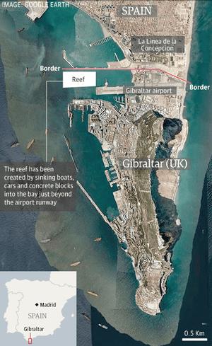 Satellite Map Of Spain.Gibraltar Row Spain Misinformed Over Artificial Reef