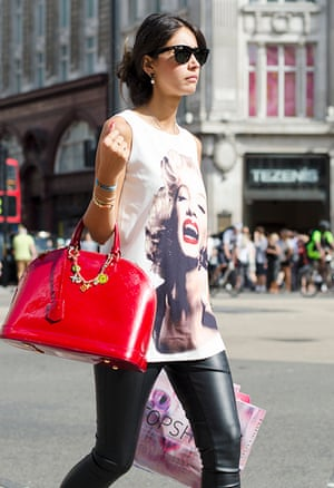 Woman wearing a graphic T-shirt