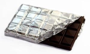 Water for consumer goods: Bar of dark chocolate