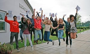 GCSE students collect their results from Bishop Justus school