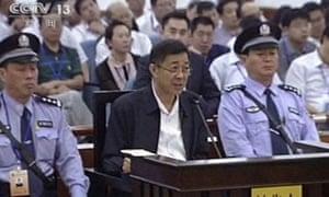 Bo Xilai, centre, in court on Saturday.