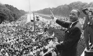 Martin Luther King addresses crowd in Washington in 1963