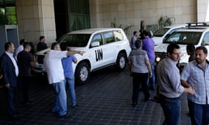 The UN high representative for disarmament affairs, Angela Kane, arrives at a hotel in Damascus