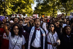washington rally: Students of Howard University march from campus