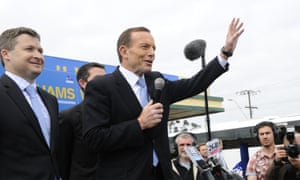 Tony Abbott waves to supporters the launch of Matt William's campaign in Adelaide on Saturday 24 August 2013.