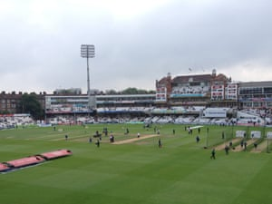 Players warm up at the Oval on Sunday 25 August ahead of day five, Test five of the Ashes.