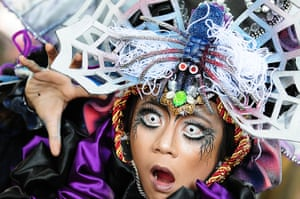 Weekend in pictures: Jember, Indonesia: A participant wearing Spider costume in Grand Carnival o