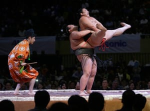 Weekend in pictures: Jakarta, Indonesia: Sumo wrestlers perform during an exhibition at Istora s