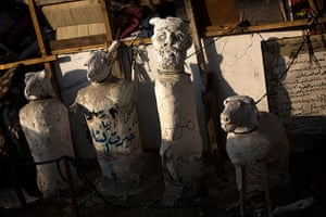 Weekend in pictures: Cairo, Egypt,: Sculptures representing ousted Egypt's President Mohamed Mor
