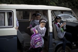 Weekend in pictures: Gaza City, Gaza: Palestinian school children get off a minibus as they arri