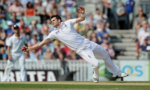 England's James Anderson takes the catch of Australia's David Warner off his own bowling during day five of the fifth Ashes Test.