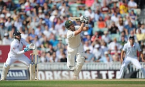 Australia's Shane Watson looks-on as he is caught by England's Kevin Pietersen during day five of the fifth Ashes Test at the Oval.