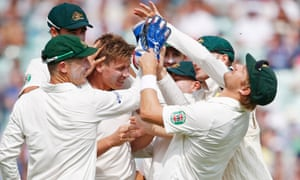 Australia's James Faulkner celebrates with team mates after taking the wicket of England's Ian Bell on day five of the fifth Ashes Test.