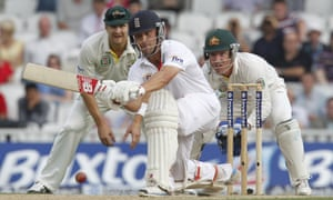 England's Jonathan Trott plays a shot during the fifth day of the fifth Ashes Test against Australia at the Oval.