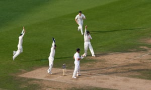 Australia's Steve Smith tries to claim a catch off Jonathan Trott of England during day five of the fifth Ashes Test.