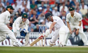 England's Jonathan Trott during the fifth day of the fifth Ashes Test against Australia at the Oval.