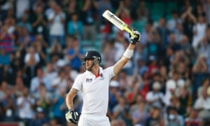 England's Kevin Pietersen celebrates after scoring a half century against Australia on the fifth day of the fifth Ashes Test at the Oval.