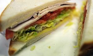 Ham, cheese and salad sandwich