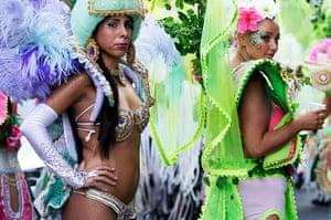Notting Hill Carnival: The Paraiso Samba troupe line up at the start of the Notting Hill Carnival