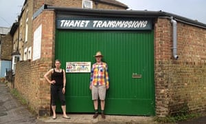 Jessica Voorsanger with Bob and Roberta Smith outside hisstudio in a converted garage in Ramsgate