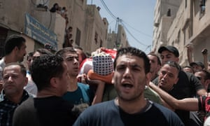 Funeral of Palestinian killed in Qalandiya camp