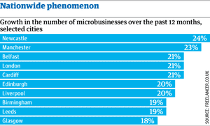 Growth in number of microbusinesses, selected cities