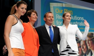 Tony Abbott poses with his wife Margaret and daughters Bridget and Frances during the 2013 Coalition Campaign Launch.