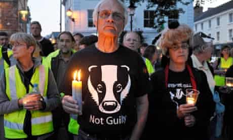 Anti-cull protesters attend a vigil in Minehead, Somerset