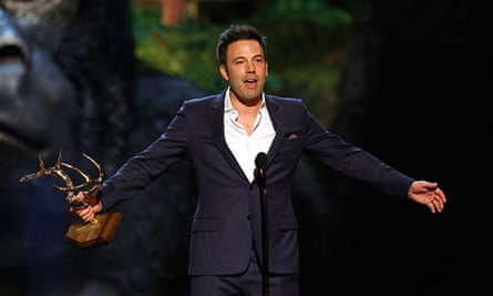 Ben Affleck, accepting an award, is pegged to play Batman for multiple films