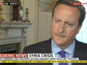 British PM David Cameron in an appearance on Sky News, 27 August 2013.