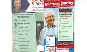 Michael Danby's two 'how to vote' cards