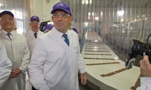 The Leader of the Opposition Tony Abbott tours the Cadbury's choclate factory in Claremont in the Northern Suburbs of Hobart, Tasmania this morning, Wednesday 28th August 2013.