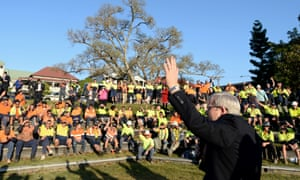 Prime Minister Kevin Rudd addresses construction workers at Musgrave Park in Brisbane, Wednesday, Aug. 28, 2013.