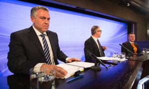 Shadow Treasurer Joe Hockey (left) and Treasurer Chris Bowen before the Treasurers Debate at the National Press Club in Canberra, Wednesday, Aug. 28, 2013.