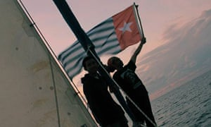 A boat in the Freedom Flotilla travelling from Australia to West Papua.