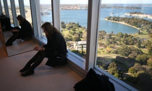 The Leader of the Opposition Tony Abbott's chief of staff Peta Credlin waits for her boss at a function in Sydney to where Mr Abbott signed the Jawun Empowered Communities compact this afternoon Wednesday 28th August 2013