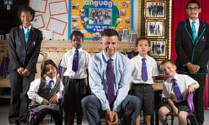 Peter Hyman and pupils at School 21 in Stratford.