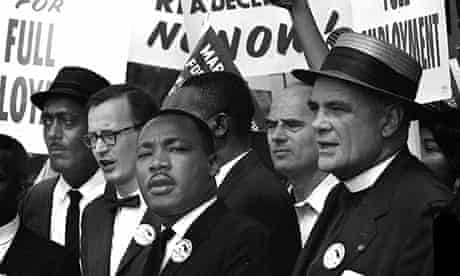 Martin Luther King (centre) on the day of the march.
