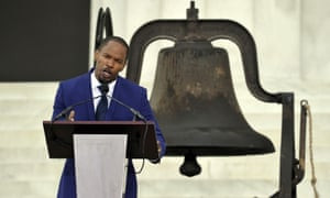 Actor Jamie Foxx commemorates the 50th anniversary of the March on Washington for Jobs and Freedom at the Lincoln Memorial in Washington, DC.