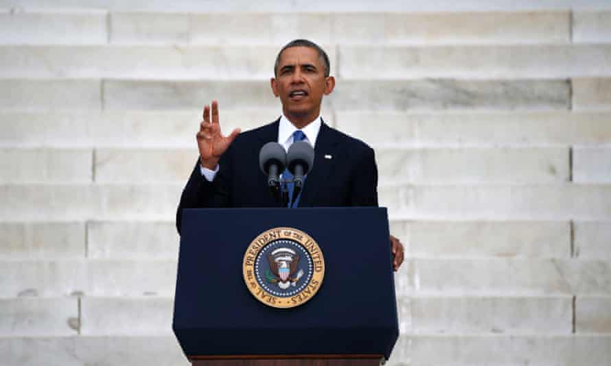 """US president Barack Obama speaks at a ceremony marking the 50th anniversary of Martin Luther King's """"I have a dream"""" speech on the steps of the Lincoln Memorial in Washington."""