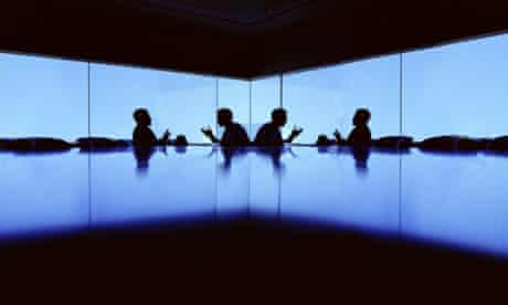 boardroom silhouette businessman