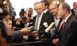 UN secretary-general Ban Ki-moon addresses the press in Vienna