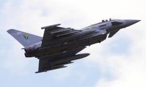 An RAF Typhoon jet fighter.