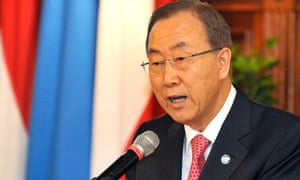 UN secretary general Ban Ki-moon delivers a speech during an awarding ceremony where he received the Grand Decoration of Honour in Gold for Services to the Province of Vienna at the city hall in Vienna, Austria, on Thursday, 29 August, 2013.