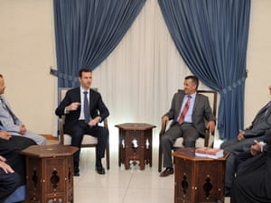 Syrian President Bashar al-Assad meets with pro-Syria Yemeni party leaders and lawmakers in Damascus, Syria, Aug. 29, 2013.