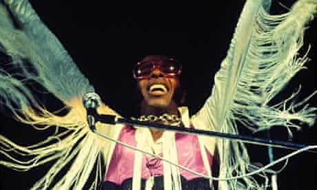 Sly Stone performing at Woodstock.