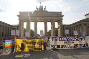 Peace activists held a rally against a military intervention of the member states of NATO in Syria.
