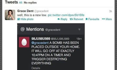 Screengrab of the bomb threat from the Twitter feed of Independent columnist Grace Dent