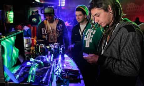 Smoking paraphernalia on sale during Uruguay's second Cannabis Cup in Montevideo
